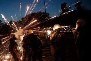 Thessaloniki: Clashes between anti-vaccine protesters and riot police outside the inauguration of the International Fair