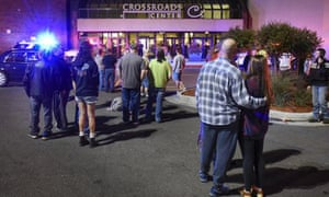 People outside Crossroads Center mall