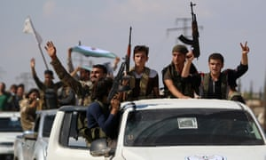 Syrian rebel fighters from the recently formed National Liberation Front pictured in Idlib province on 11 September.