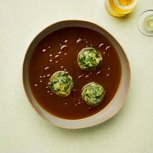 Herby kale dumplings in broth