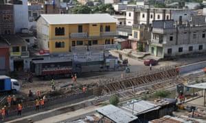 Construction of a wall along the border between Peru and Ecuador in Aguas Verdes, Peru on 8 June 8 2017.