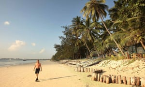 Male tourist on Kenyan beach