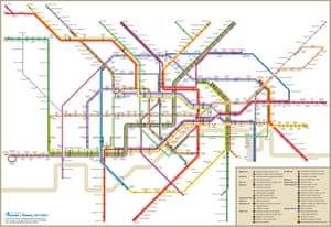 London plays New York. The London Underground in the style of the Big Apple's subway map from 1972.