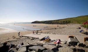 Whitesands Bay beach near St David's Pembrokeshire, Wales. Summer day, blue sky.