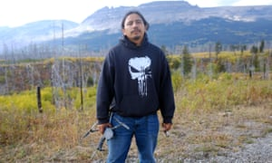 Matthew Lone Bear with the drone he uses to search for missing Native Americans.
