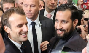 President Macron with Élysée Palace senior security officer Alexandre Benalla