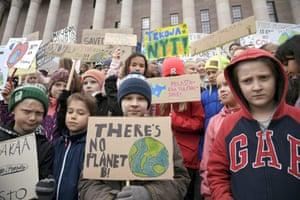Helsinki, Finland Children from Koskela school protest outside the Parliament House in Helsinki