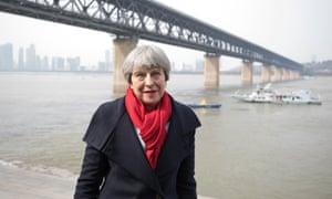 Theresa May visiting the Yangtze river in Wuhan
