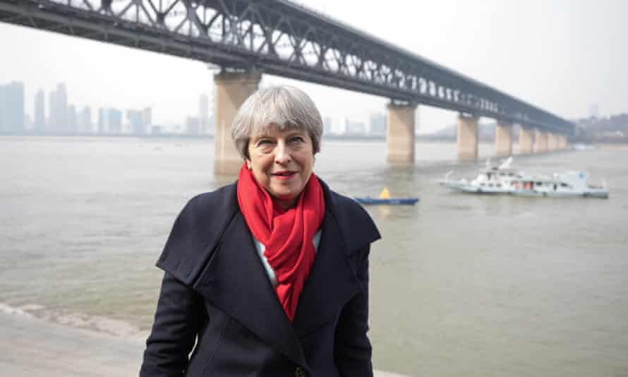 Theresa May visiting the Yangtze river in Wuhan