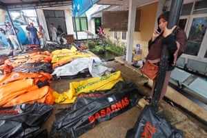 Dead bodies collected at a health facility after a tsunami hit Sunda Strait in Pandeglang, Banten, Indonesia