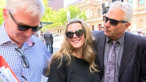 Kathy Jackson and her partner Michael Lawler  leave Melbourne's magistrates court