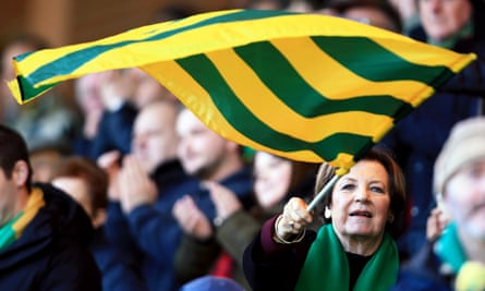Norwich City's joint majority shareholder Delia Smith with the fans at Carrow Road in January.