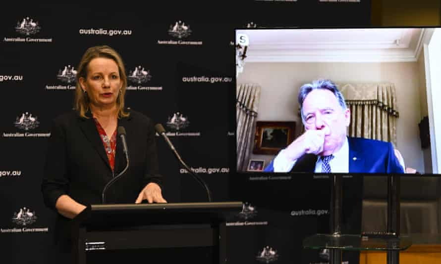 Environment minister Sussan Ley at a lectern with Graeme Samuel on a video screen behind her
