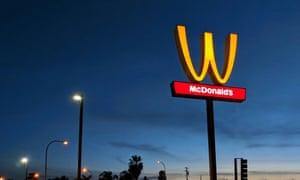 McDonald's 'M' logo is turned upside down in honour of International Women's Day in Lynwood, California.