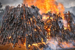 A pile of illegal firearms burns in a field
