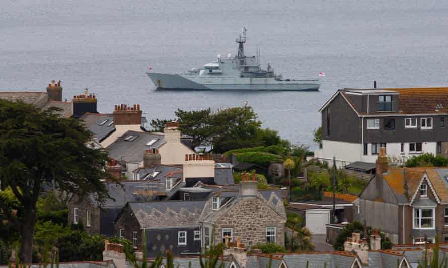 A Royal Navy ship near St Ives before the G7 summit in Cornwall.
