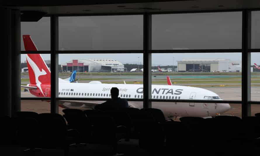 A Qantas aircraft at Brisbane's domestic airport