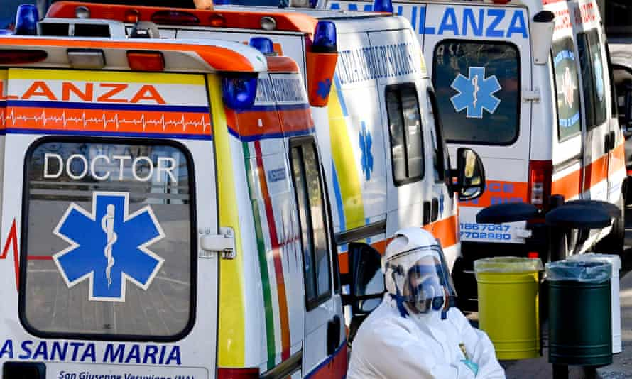 Ambulances queue outside Cotugno hospital in Naples at the weekend