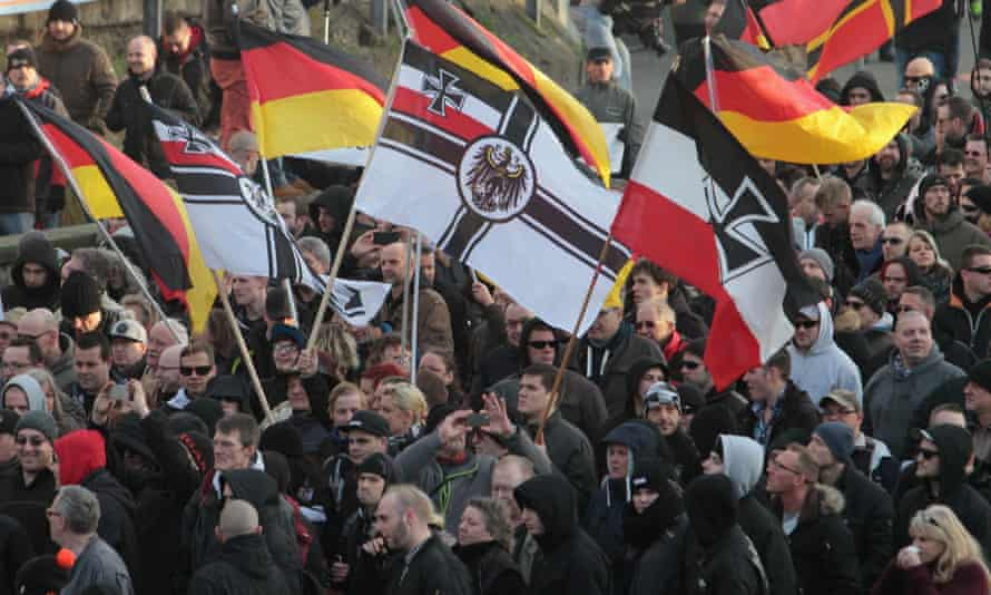 Right-wing demonstrators march in Cologne on 9 January