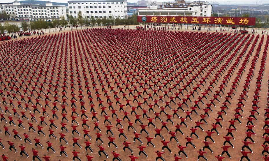 Truly remarkable ... Shaolin kung fu students captured from space.