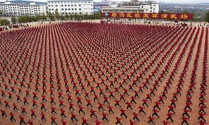 Big enough to see from space ... In China, thousands of Shaolin students move in unison in vast displays.