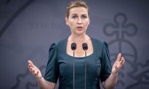 Denmark's prime minister, Mette Frederiksen, speaks during a press conference on Covid-19 in Copenhagen