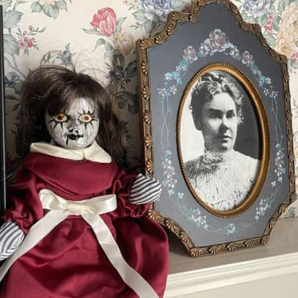 Souvenir doll with a photo of accused murderer Lizzie Borden at the Lizzie Borden House bed and breakfast.