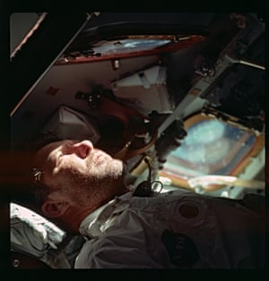 Walter Schirra, commander of Apollo 7, gazes through the rendezvous window