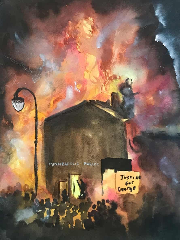 The 3rd Precinct Burns in Minneapolis by Kambui Olujimi.