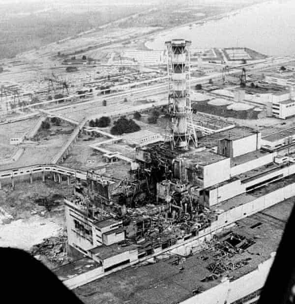 View from a Soviet helicopter days after the Chernobyl explosion in 1986.