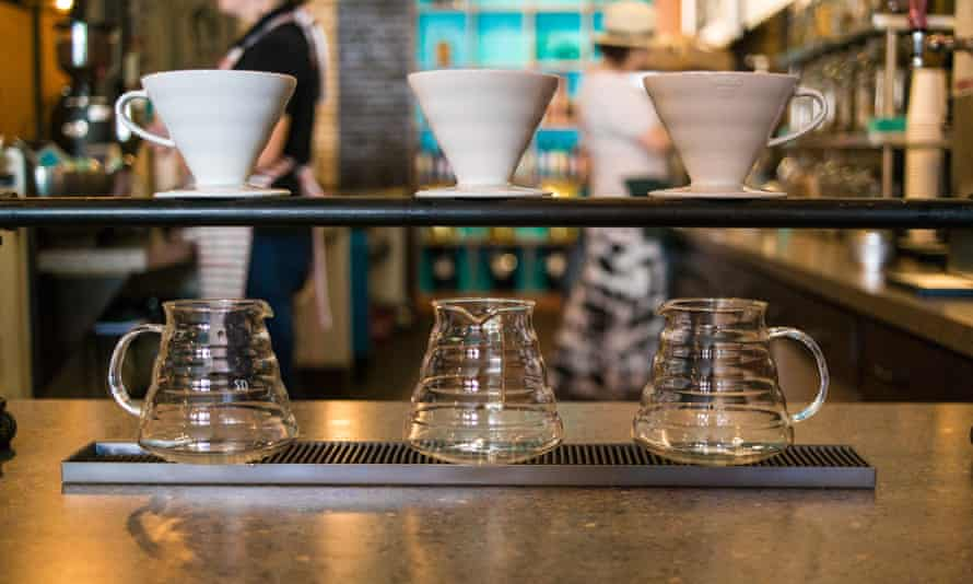 Pour Over Coffee with a Hario V60 at Fourteen Eighteen Cafe in USA.