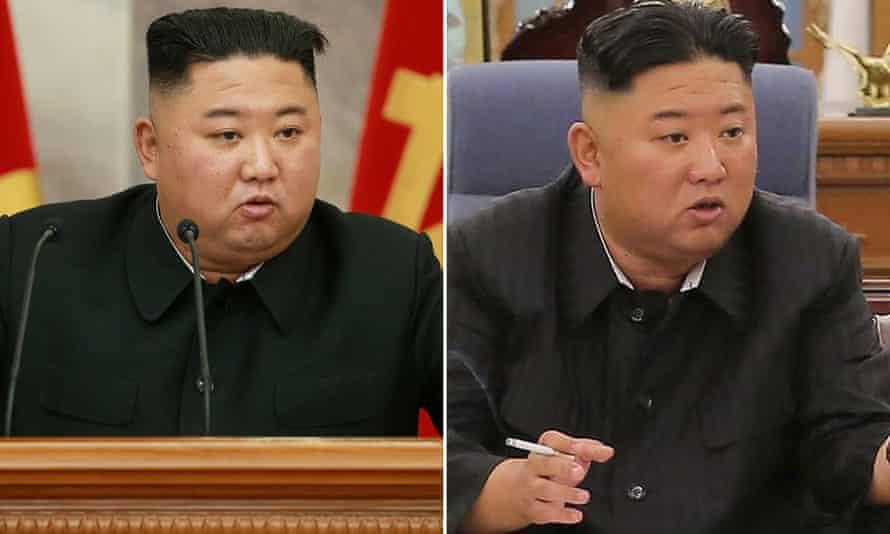 North Korean leader Kim Jong Un in July 2020 and June 2021.