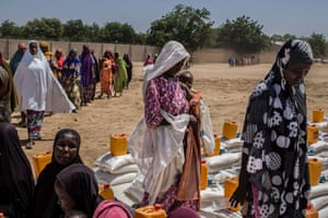 Thousands of people displaced by conflict in northeastern Nigeria have taken refuge in Maiduguri.