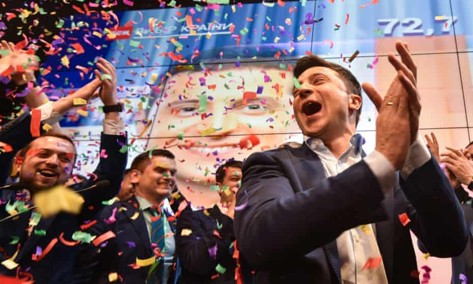 Volodymyr Zelenskiy celebrates his election as president of Ukraine last month.