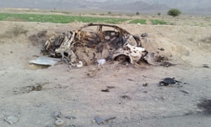Wreckage of a destroyed vehicle in which Mullah Mohammad Akhtar Mansoor was allegedly travelling  when it was hit by a US drone