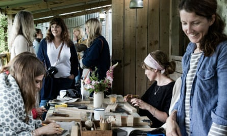 Women around a table a country retreat