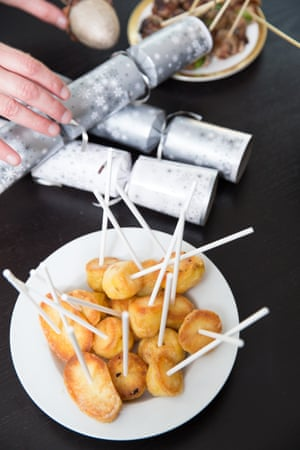 Roast potatoes … perfect for dipping in cascades of cheese.