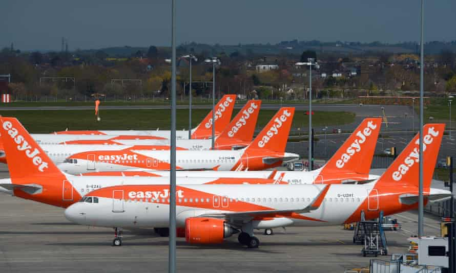 Grounded easyJet aircraft parked at Southend airport.