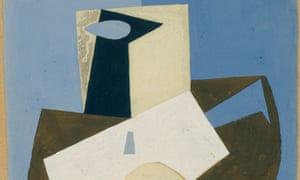 A detail Picasso's Étude pour 'Les trois Musiciens' (Le Guéridon blanc).