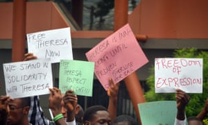 Demonstrators show their support for Theresa Mbomaya, a student detained for disseminating a social media message