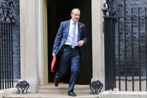Dominic Raab, Brexit Secretary, leaving Downing Street after a Cabinet meeting today