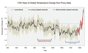 Global average surface temperatures over the past 1,700 years.