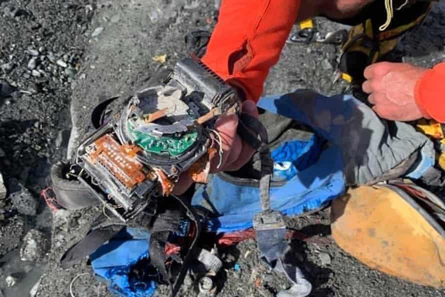 Richard Stiles's broken camera as it was found on Hooker Glacier.
