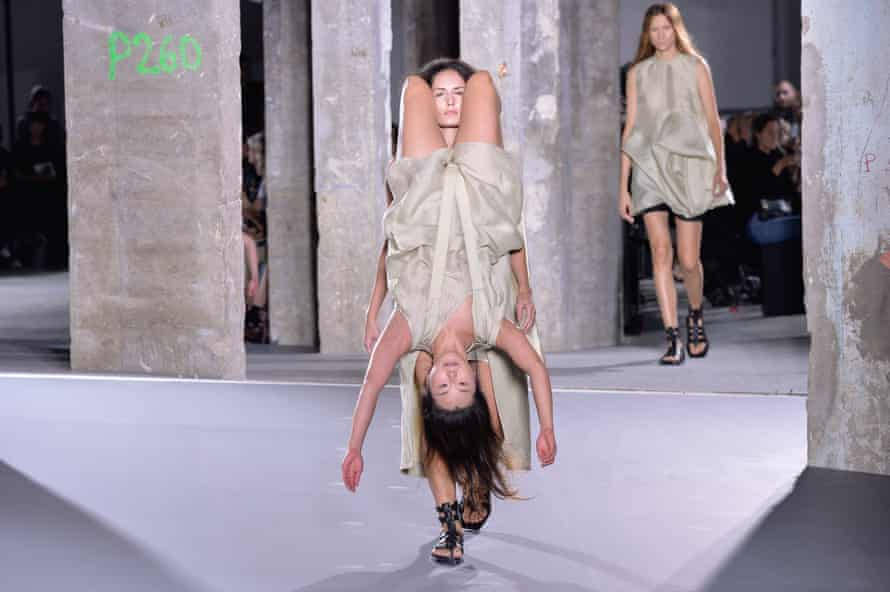 Models walks the runway during the Rick Owens show as part of the Paris Fashion Week Womenswear Spring/Summer 2016 on October 1, 2015 in Paris