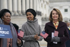 Ilhan Omar, with Democratic representative Sheila Jackson Lee and Nancy Pelosi outside the Capitol.