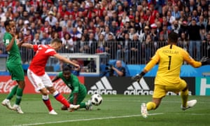 Russia v Saudi Arabia - FIFA World Cup 2018 - Group A - Luzhniki Stadium Russia's Denis Cheryshev scores his side's second goal of the game
