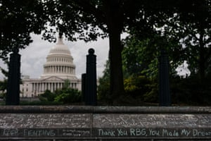 Remnants of a week of tribute for Supreme Court Justice Ruth Bader Ginsburg outside of the United States Capitol on September 25, 2020. States Capitol on September 25, 2020.