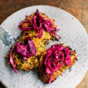 Butternut rosti with pickled cabbage.