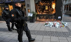 A policeman near the scene of a shooting in Strasbourg