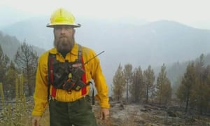 Troy Minton working as a firefighter.